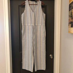 Drew by Anthropologie linen jumpsuit size M Stripe